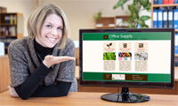 Woman showing off a website